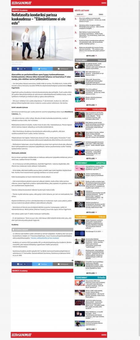 """Natiiviartikkeli Nollatasolta koodariksi parissa kuukaudessa – """"Elämäntilanne ei ole este"""" julkaistiin IS.fi:ssä ajalla 26.3.-4.4.2019."""