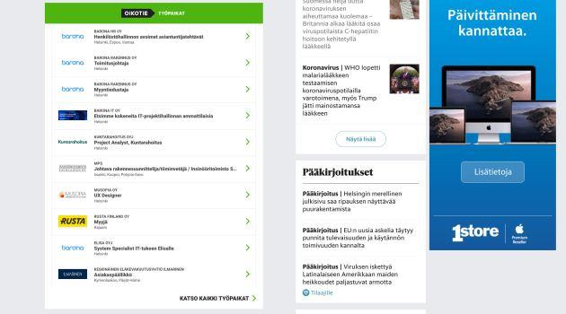 Display Nosto HS.fi etusivulla