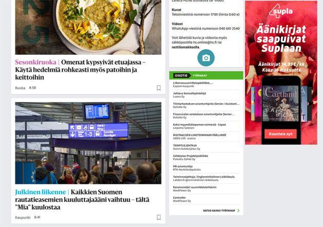 HS Nosto HS.fi:n etusivulla